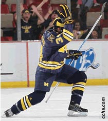 Llewellyn scores the first goal as Michigan beats Miami to advance  to the CCHA tournament final
